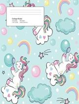 Unicorn Bubble Composition College Ruled Book (7.44 X 9.69) 200 Pages V15