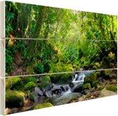 Regenwoudkreek Hout 30x20 cm - klein - Foto print op Hout (Wanddecoratie)