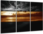 Glasschilderij Zee   Sepia, Bruin   120x80cm 3Luik   Foto print op Glas    F001961