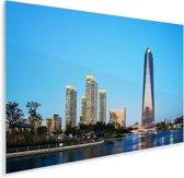 De wolkenkrabbers van Incheon op een zonnige avond in Azië Plexiglas 60x40 cm - Foto print op Glas (Plexiglas wanddecoratie)