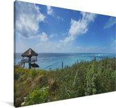 De kust met oceaanwater in het Noord-Amerikaanse Isla Mujeres Canvas 140x90 cm - Foto print op Canvas schilderij (Wanddecoratie woonkamer / slaapkamer)