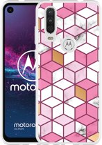 Motorola One Action Hoesje Pink-gold-white Marble