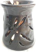 Aromabrander oliebrander Libel 10x11x10cm  bruin keramiek voor geurolie of wax smelt.