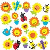 Foamstickers van zonnebloemen die kinderen kunnen gebruiken om knutselwerkjes en lente-/zomerkaarten te versieren en te personaliseren. Scrapbooking-accessoires voor kinderen (verpakking van 120)