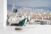 Fotobehang vinyl - Stedelijke horizon van de stad van Izmir in Turkije breedte 410 cm x hoogte 230 cm - Foto print op behang (in 7 formaten beschikbaar)