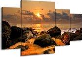 Canvas schilderij Zonsondergang | Geel, Grijs | 160x90cm 4Luik