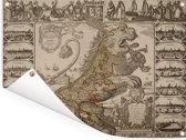 Landkaart van Nederland in de vorm van een leeuw Tuinposter 160x120 cm - Tuindoek / Buitencanvas / Schilderijen voor buiten (tuin decoratie) XXL / Groot formaat!