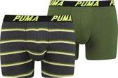 PUMA Basic heren Boxer 2 pack Stripe - zwart / grijs / groen - maat XL