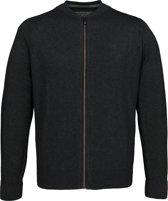 Casa Moda heren vest katoen - antraciet grijs (met rits) -  Maat XL