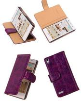 Bestcases Vintage Hoesjes Lila Book Cover Huawei Ascend P6