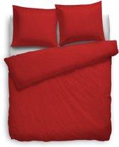 HnL Living Satin Stripe - Dekbedovertrek - Eenpersoons - 140 x 200/220 cm - Rood