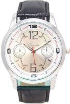 Geneva herenhorloge groot horlogekast zilver I-deLuxe verpakking