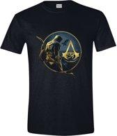 Assassin's Creed: Origins - Bayek and Logo Men T-Shirt - Zwart - Maat L