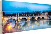 Verlichte brug in Rome Hout 80x60 cm - Foto print op Hout (Wanddecoratie)