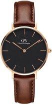 Daniel Wellington Classic Black Petite St Mawes DW00100169 - Horloge - Leer - Bruin - Ø 32mm
