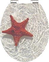 SCHÜTTE WC-Bril 80541 RED STARFISH - High Gloss - MDF-Hout - Soft Close - Verchroomde Scharnieren - Decor - 1-zijdige Print