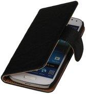 Samsung Galaxy S Advance Hoesje Washed Leer Bookstyle Zwart