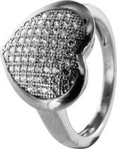 Silventi 943283266-58 Zilveren ring - Hart zirkonia - Zilverkleurig