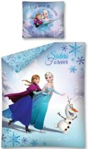 Disney Frozen Sisters Forever - Dekbedovertrek - Eenpersoons - 140x200 cm - Blauw