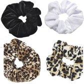 Set van 4 Scrunchies Haarwokkel Scrunchie Haarelastiek Luipaard Panter print Wokkel Zwart Wit