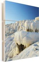 Blauwe lucht boven Pamukkale in Turkije Vurenhout met planken 60x90 cm - Foto print op Hout (Wanddecoratie)