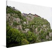 Prachtige groene bergen in het Chinese Tai'an Canvas 90x60 cm - Foto print op Canvas schilderij (Wanddecoratie woonkamer / slaapkamer) / Aziatische steden Canvas Schilderijen