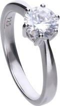 Diamonfire - Zilveren ring met steen Maat 16.5 - Steenmaat 7 mm - Chatonzetting