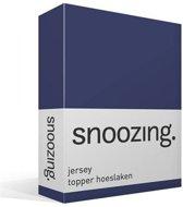 Snoozing Jersey - Topper Hoeslaken - 100% gebreide katoen - 180x200 cm - Navy