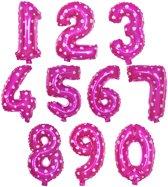 Cijfer ballon 6 roze met hartjes