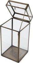 Rivièra Maison French Glass Hurricane With Lid - M - Windlicht - Glas/Ijzer