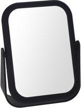 Vergrotende make-up spiegel dubbelzijdig zwart 18 cm - Grimeer/make-up spiegels - Opmaken - Vergrootspiegel