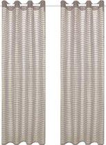 Glasgordijnen geweven gestreept 140x175 cm beige 2 st