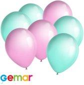 30x ballonnen Mintgroen en Roze (Ook geschikt voor Helium)