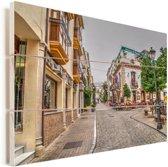 Winkelstraat in Málaga Vurenhout met planken 80x60 cm - Foto print op Hout (Wanddecoratie)