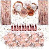 Fissaly® 86 stuks Rose Goud XL Decoratie Feestpakket – Ballonnen & Slingers – Feest – Trouwen