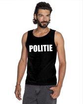 Politie tekst singlet shirt/ tanktop zwart heren S
