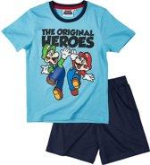 Super Mario Bros Pyjama met korte mouw - blauw - Maat 140