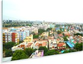 Kleurrijke huizen in Chennai Plexiglas 160x80 cm - Foto print op Glas (Plexiglas wanddecoratie)