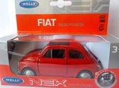 Fiat 500 classic in vensterdoos Welly 43606 kleur rood