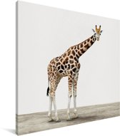 Giraffe dierenprint kinderkamer Canvas 20x20 cm - Foto print op Canvas schilderij (Wanddecoratie woonkamer / slaapkamer)