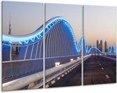 Glas schilderij Brug | Blauw, Grijs | 120x80cm 3Luik | Foto print op Glas |  F007462