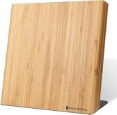 KitchenBrothers Magnetisch Bamboe Messenblok voor 5 Messen - Universeel Bamboo Messenhouder Zonder Messen - Messenopberger Magneet - Hout/RVS