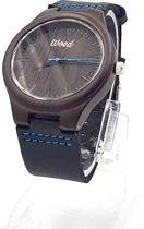 WOED | houten - Horloge - 44 mm - leren band - zwart
