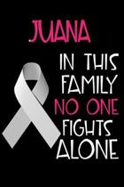 JUANA In This Family No One Fights Alone: Personalized Name Notebook/Journal Gift For Women Fighting Lung Cancer. Cancer Survivor / Fighter Gift for t