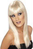 Blonde damespruik lang stijl haar met pony