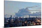 Mooie wolken boven de Chinese stad Shenzhen Aluminium 90x60 cm - Foto print op Aluminium (metaal wanddecoratie)