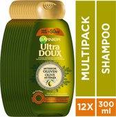 Garnier Ultra Doux Mythische Olijven Shampoo - 12 x 300 ml - Zeer Droog of Kwetsbaar Haar - Voordeelverpakking