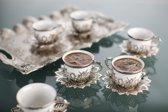 BUSEM 6 persoons traditioneel Turkse koffieset metaal met porselein