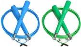 #DoYourFitness - 2x Speed Rope - »Rapido« - Springtouw met stalen kabel - 300 cm - blauw & groen
