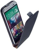 Lelycase Lederen Flip case case Telefoonhoesje HTC One M8 Zwart